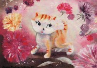 Kitty in the Land of Asters (Postcard)