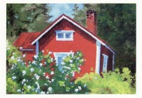 Cottage and a Rose Bush (Postcard)